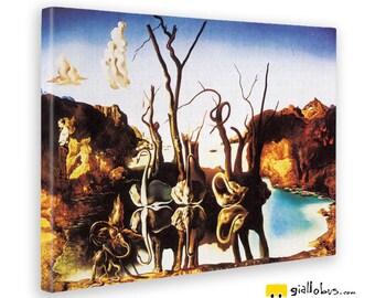 Canvas paintings-Salvador dali-Swans reflecting elephants-yellow BUS