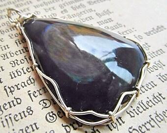 Rainbow Obsidian in silver wirework Arco Iris