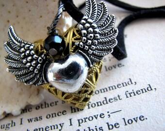 Set My Heart Free Love Locket Necklace - Steampunk Silver Winged Heart Locket Choker - Valentines