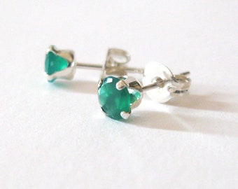 Green Onyx Sterling Studs 4mm Emerald Green Stones, Minimalist Petite Earrings for May Birthday, Graduation, Mothers Day Gift