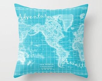 Turquoise World Map Pillow -  world map, vibrant blue travel decor, wanderlust,  Vintage Maps, unique, colorful, rectangular, square