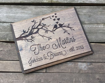 Love birds Wood sign, wooden sign, wooden wall plaque, custom personalized sign, wedding sign, memorial plaque, wedding photo prop, gift