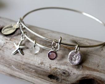 Sea glass bracelet, charm bracelet, bridesmaid bracelet, star fish bracelet, initial bracelet, customizable bracelet, birthstone bracelet