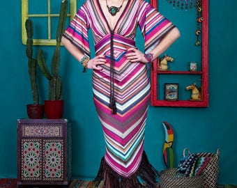 Francesca - unique handmade designer dress by NYMF, colourful printed jersey dress with stripes, boho chic hippy style