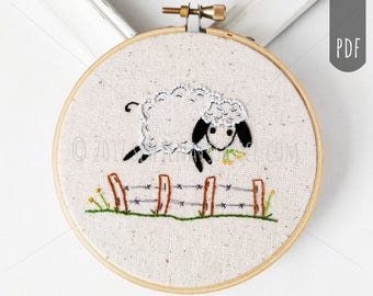 PDF Hand Embroidery, Buttercup Sheep, Hand stitching, Nursery embroidery design,