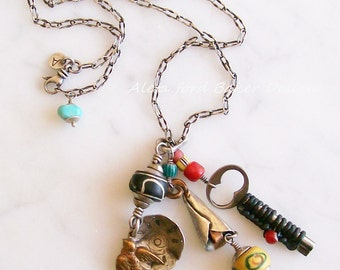 Treasure Necklace Sterling Silver Copper Charms Mixed Metals Handmade Tribal Trend