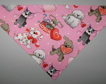 Valentines Day Love Pups Pink Dog Bandana Scarf–Double Sided/Slide over Collar–Size Small, Medium, Large, X-Large