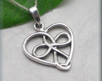 Hidden Guardian Angel Necklace, Celtic Knot, Sterling Silver, Religious Necklace, Heart Pendant, Gift for Her, Faith, Christian Jewelry