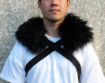 Night's Watch Men's Fur Collar Leather Harness Jon Snow costume, harness men, fur harness, Game of Thrones, cosplay, New Zealand made