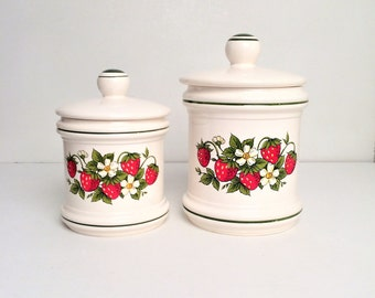 Strawberry Canisters, vintage strawberry canister set of two