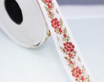 26 mm White Front Red&Gold Floral Jacquard ribbon (1.02 inches) - Jacquard trim - Balkans Decorative Ribbon - Sewing Trim - Collar Trim