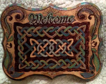 Woodburned Welcome Plaque