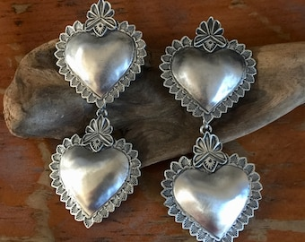 EBH14 Double Santa Fe Heart repousse sterling silver southwestern native style earrings
