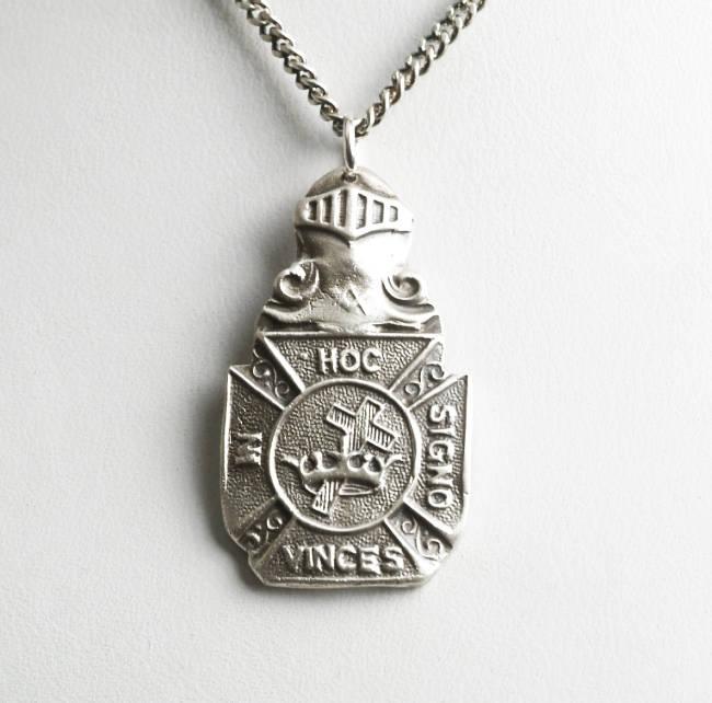 Knights Templar Pendant Masonic Pendant Sterling Silver Spoon