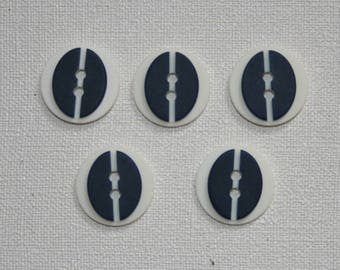 Set of 5 round vintage buttons. Navy Blue buttons. B07