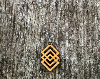 Laser cut mid century style  bamboo necklace