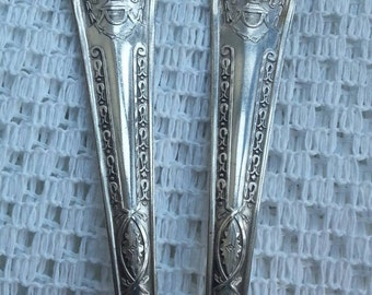 Vintage Silver Plate Serving Spoons, Ornate Handle Pair of Spoons, Elegant Tableware, Vintage Serving Utensils, Wallace WB over W