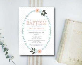 INSTANT DOWNLOAD baptism invitation / dedication invitation / christening invitation / baby dedication invite / baby baptism invite
