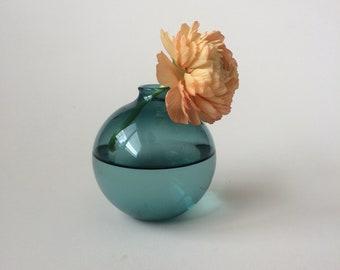 Small hand blown Lake Green glass bud vase