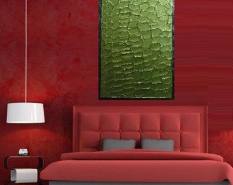 """Green Moods... original painting, paletted knife, 11,8""""x 23,6"""", 30 x 60 cm, acrylic colours, canvas, abstract, fantasy"""