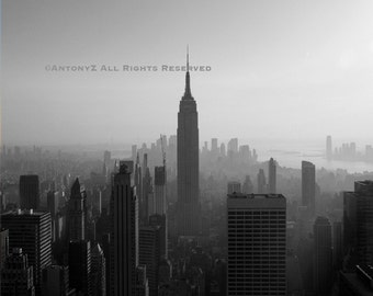 Classic New York City Skyline NYC Empire State 8x10 Black and White Fine Art Print