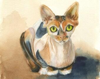 Sphinx Cat Art, Cat Art Print, Sphynx, Cat print, watercolor Cat, watercolor Sphynx, cat, hairless cat, nursery,