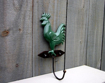 Rooster Hook, Green, Decorative Hook, Farmhouse Decor, Kitchen Hook, Chicken, Hen, Rooster, Entryway Hook, Towel Hook, Key Hook
