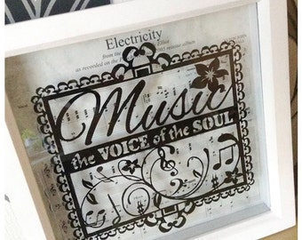 Music - the Voice of the Soul Paper Cut / Papercut Template - Commercial Use - Instant download.