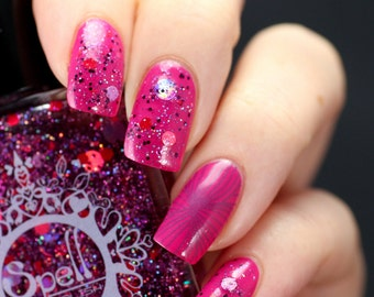 SPELL POLISH ~Candy in My Heels~ GLITTERBOMB magenta pink & purple nail polish!