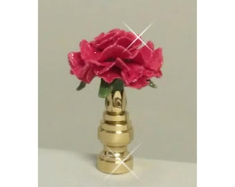 Carnation Lamp Finial Hand Crafted in Custom Colors