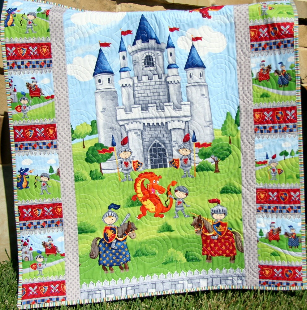 SALE Knight Baby Boy Quilt Crib Blanket Dragon Castle : baby boy quilts for sale - Adamdwight.com