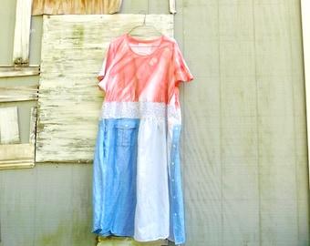 Summer Dress, Ladies Tunic, Tie Dye Shirt, Upcycled Clothing, Tshirt Dress, Spring Dress, Plus Size Dress, Floral, Tunic, CreoleSha