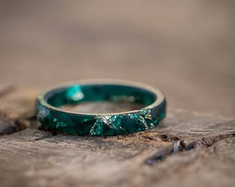 Thin Teal Resin Stacking Ring Gold Flakes Skinny Faceted Ring OOAK boho minimal chic jewelry deep teal emerald