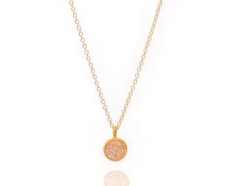 Druzy POP Necklace - Aurora Borealis Druzy in Yellow Gold - Druzy / Drusy Necklace - 24k Gold Vermeil - Small Round Druzy Drop Charm Pendant