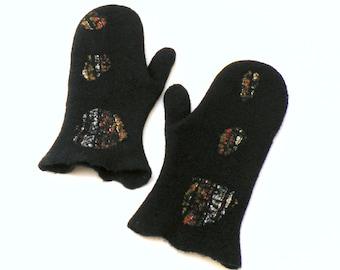 Felted wool mittens, black mittens, winter gloves, warm wool mittens, woman mittens, soft merino wool mittens, arm warmers, stylish mittens