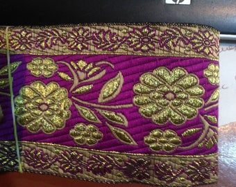 medieval gold renaissance style gold and purple Brocade Ribbon trim