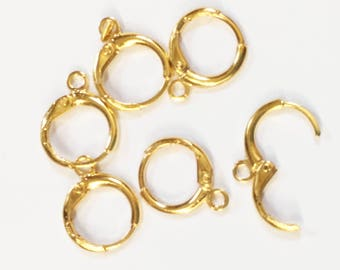 30 pcs of Gold plated brass round  leverback earwire 12mm, bulk gold leverback earring hook