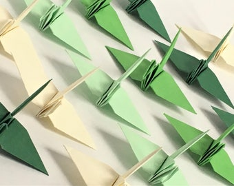 40 Green Gradation Japanese Origami Crane Paper Crane Origami Paper Cranes folded crane folded bird
