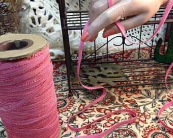 Elastic, Trim, Hot Pink, Vintage, Lingerie, By The Yard