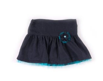 Girls skirt in navy flannel with turquoise tulle