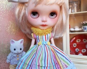 Rainbow Striped Blythe Dress, Crinoline and Collar Set | Pullip set