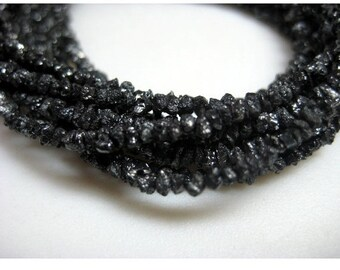 Black Rough Diamonds, Black Raw Diamond Beads, Black Uncut Diamonds, 3mm To 4mm, 8 Inch Strand, Diamond Necklace