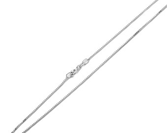 1mm 925 Sterling Silver Italian Box Chain Necklace made in italy / Gift box(SNCP610031)
