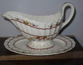 Vintage 1950's Spode Copeland Cowslip S713 Pattern Gravy Boat with under plate