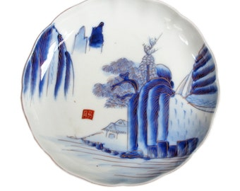 Antique Japanese Porcelain Charger. Wall Charger. Blue and White Plate with Gilt. Japanese Sometsuke. Ceramic. Pottery. Wall Plate. Meiji.