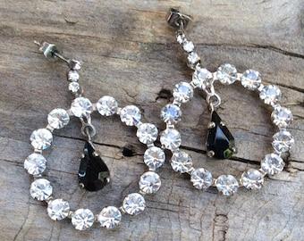 Gorgeous Vintage Crystal Stud Earrings Large Size Bride Bridesmaid Wedding