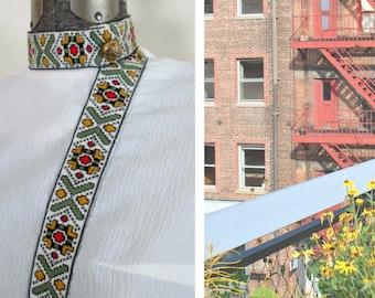 1960s Mod Dress White Sheath Tapestry Trim