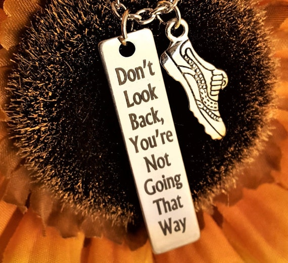 Running Jewelry, Runner Charm Necklace, Don't Look Back, Sports Fitness Crossfit Gift Jewelry, Motivational Gift, Marathon Triathlon Jewelry