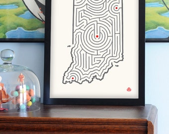 """12x16"""" Indiana Map State Maze Offset Print 