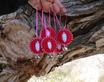 Vagina Ornament Four Pack Little Red Twinkle - iFelt Vaginas Goddess Small Sized Ornaments